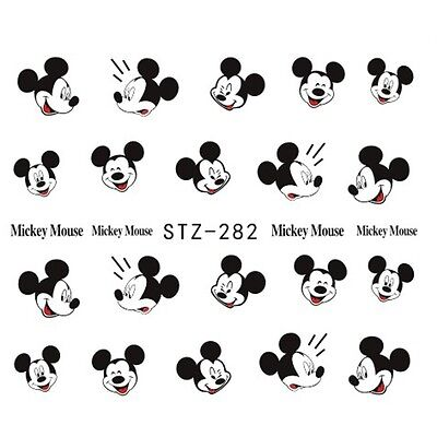 Nail Art Water Decals Stickers Transfers Black Mickey Mouse Kawaii  (STZ282)