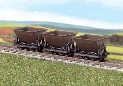 PECO GR-330  OO-9 SCALE Side Tipping Hudson 'Rugga' V-skips Brown Pack of 3