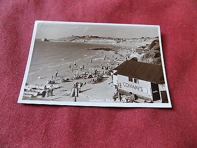 VINTAGE ISLE OF WIGHT: COLWELL BAY beach panorama RP sepia MERWOOD