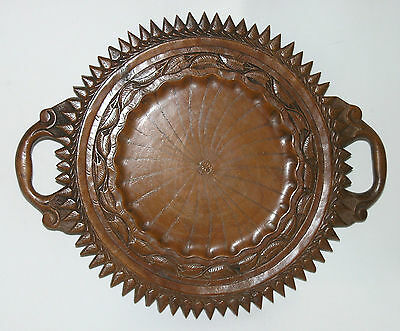 "Beautiful vintage carved solid wood bread serving board tray 14¾"" 37cm 2 handles"