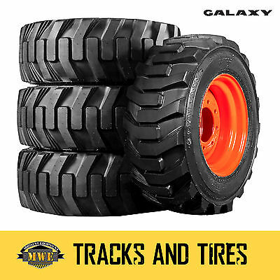 4 New 12-16.5 (12x16.5) Galaxy XD2010 Skid Steer Tires - Choose Your Rim Color