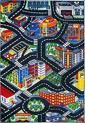 Foamily Kids Rug 3D City Map 5' X 7' Childrens Area - Street Map Non Skid Gel