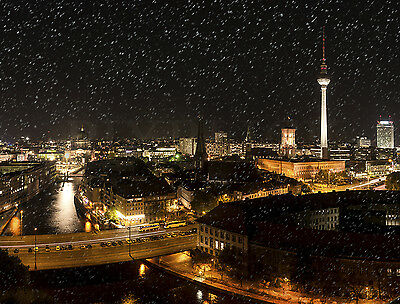 Textilbanner Stoffplane Plane Berlin Panorama Winter Schnee - Made in Germany -