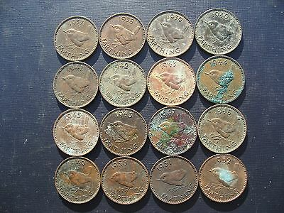 George VI Farthing Set 1937 - 1952. 16 Coins. Dirty