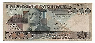 Portugal 5000 Escudos 1981 Pick 182 B Look Scans