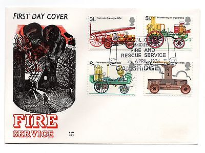 GB 1974 Fire on the Benham Woodfree cover with a Cambridge cancel