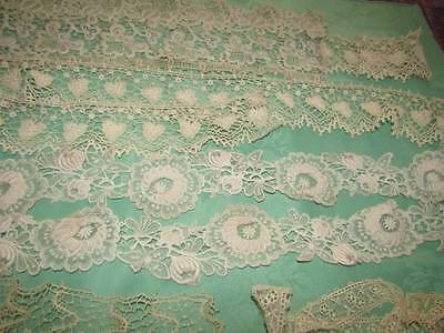 Interesting Assorted Antique/Vintage Lace Trims Padded Irish Schiffli