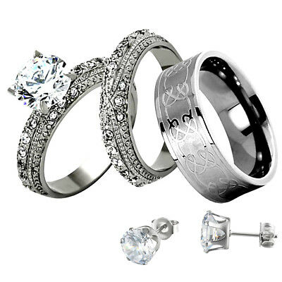 His Hers Wedding Ring Set Round CZ Stainless Steel Titanium Men Band + Stud