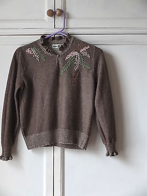 Vintage 80s Embroidered Puff Sleeve Jumper 8