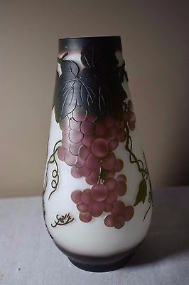 Galle Style Art Nouveau Cameo Glass Vase with Grapes & Grasshopper - Beautiful!!