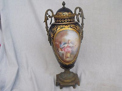 Antique Sevres Style Cobalt Blue Hand Painted Court Scene Porcelain & Bronze Urn