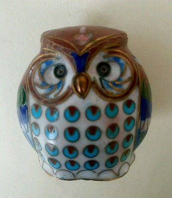 Vintage Owl Coloisonne Enamel Figurine Collectable 60s