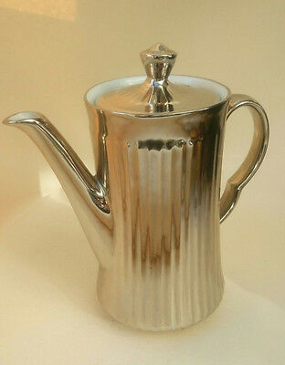 Royal Worcester Coffee Pot Ribbed Silver Luster