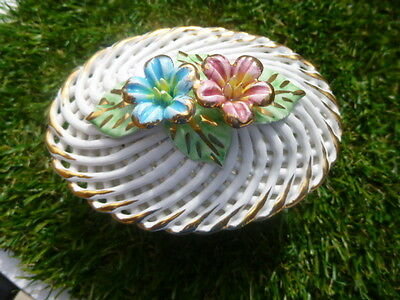 Lattice * China Lidded Trinket Pot * With Floral Display On Lid * Lovely Item