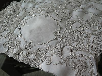 Vtg Antique Needle Lace Placemat Tray Cloth Taupe Linen Drawnwork