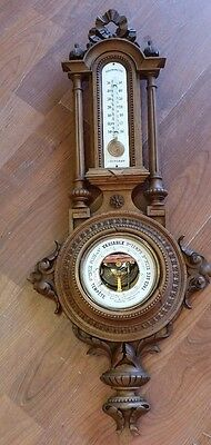 Antique Black Forest Carved Walnut Barometer Germany