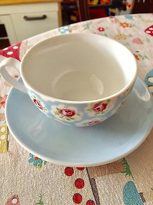 Cath Kidston Provence Rose Blue Large Tea Cup & Saucer