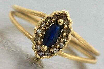 Ladies Antique Victorian 18K 750 Yellow Gold Sapphire Diamond Double Band Ring