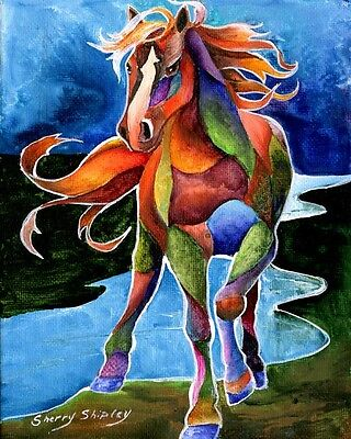 RIVER DANCE 8x10   HORSE Print from Artist Sherry Shipley