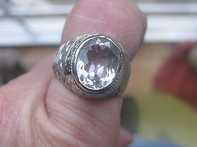 Handcrafted Hand Etched 925 Sterling Silver Diamond Topaz Mens Ring Size 8-9