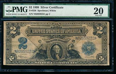 AC Fr 258 1899 $2 Silver Certificate PMG 20 comment Agricultural Note!