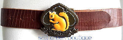 BOHO CHIC Lucky Brand HIPPIE Brown Leather Belt Size Squirrel Brass Buckle