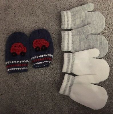 Baby Boy Mittens 0-6months X3 Pairs New And Used