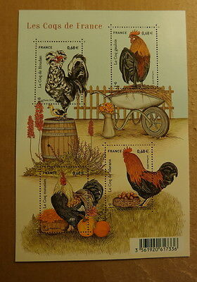 France 2015 Bloc Neuf Faune Coqs Sheet Mnh 2015 Animals Rooster