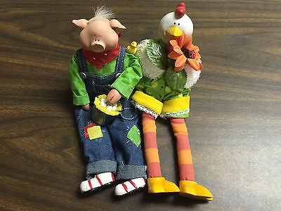 Country or Farm decor A Chicken & Pig with bucket of eggs figurine/ Dolls