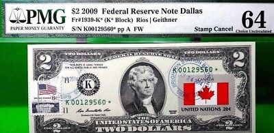 Money Us $2 Dollars Federal Reserve Star Note 2009 Flag Of Canada Unc Rare