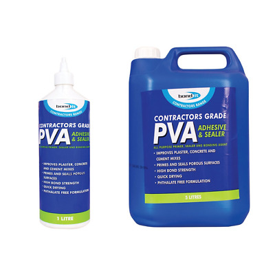 Contractors Grade PVA Adhesive Sealer Primer Glue Bonding Agent 1l, 2.5l & 5l