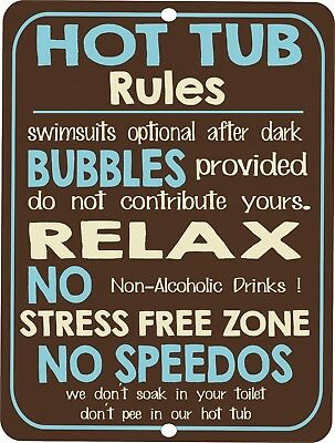 Vintage retro style funny HOT TUB RULES metal Tin sign Metal wall door Sign