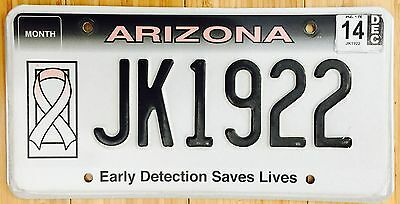 Arizona License Plate Breast Cancer Early Detection Saves Lives Pink # JK 1922
