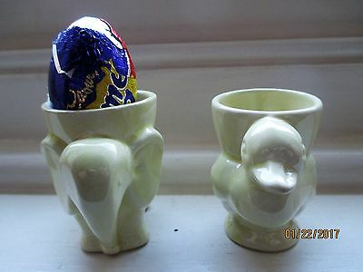 two  animal vintage egg cups great for easter