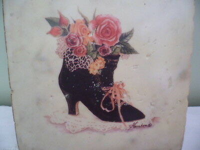 Antique Victorian Old Black Boot Vintage Shabby Roses Ribbons Lace Wall Plaque