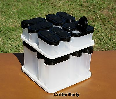 NEW Tupperware Spice Shakers set with Carousel Black Tops