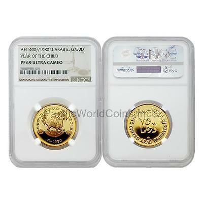 United Arab Emirates 1980 Year of Child 750 Dinar Gold NGC PF69 ULTRA CAMEO