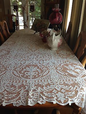 Antique Wedding White Italian Needle Lace Banquet Tablecloth Figural Dancers