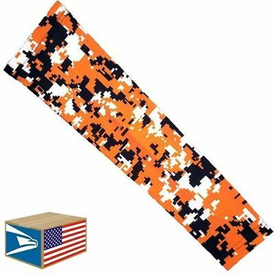 COMPRESSION ARM ELBOW SLEEVE Orange Digital Camo BASKETBALL YS/YM/YL/S/M/L/XL