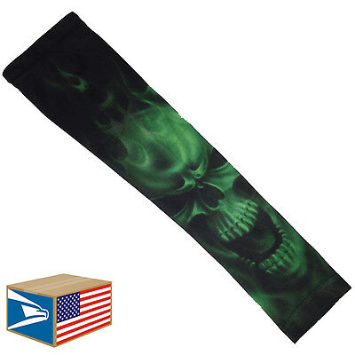 COMPRESSION ARM ELBOW SLEEVE Evil Skull Green Smoke BASKETBALL YS/YM/YL/S/M/L/XL