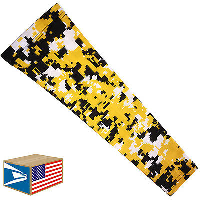 COMPRESSION ARM ELBOW SLEEVE Yellow Digital Camo BASKETBALL YS/YM/YL/S/M/L/XL