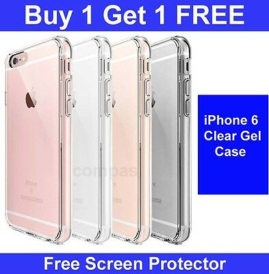 For Apple iPhone 6/6S Crystal Clear Thin Back TPU Gel Jelly Skin Case / Cover