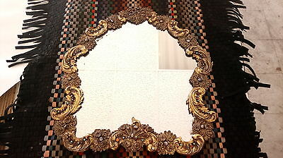 Large ANTIQUE 1800s Austro HUNGARIAN Ruby Garnet STERLING Silver MIRROR Turquois