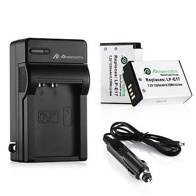 2x Li-Ion LP-E17 Battery + Charger For Canon M3 750D 760D Kiss X8i T6i T6s