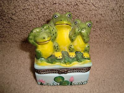 Frog Trinket Hinged Jewelry Box See No Hear No Speak No Frogs