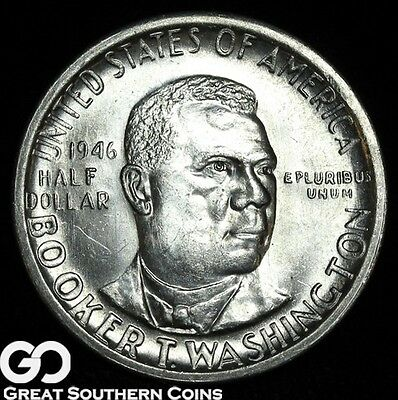 1946-S Booker T. Washington Commemorative Half Dollar, Solid Gem BU Blazer!