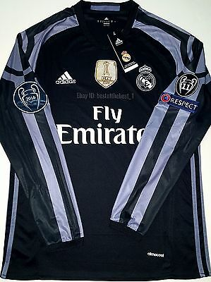 outlet store 5a160 8904d 2016 2017 REAL Madrid Fifa World Champions League Ronaldo Long Sleeve 3Rd  Jersey