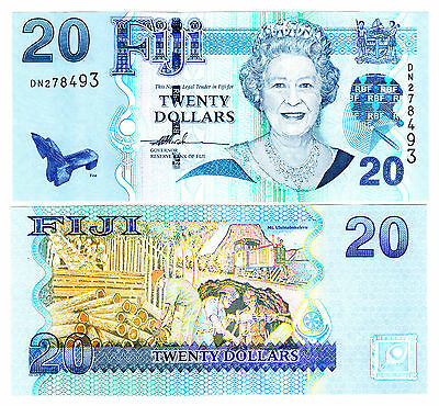 Fiji $20 20 Dollars UNC Note ND 2007 P. 112 QEII