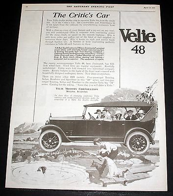 1921 Old Magazine Print Ad, Velie Mdl. 48 Series, The Critic's Car, Fishing Art!