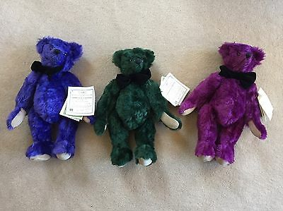 """Deans Teddy Bears (3) Limited Edition Luxury Range - 12"""" 1996-97 Only 300 Made"""